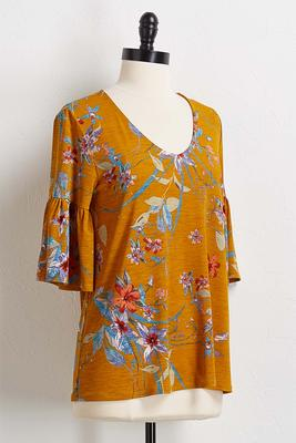 golden floral bell sleeve top