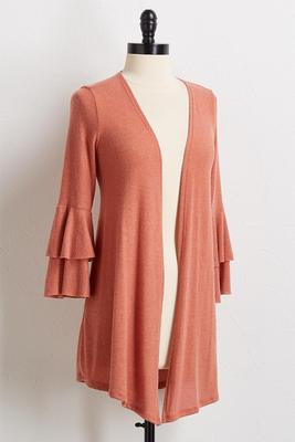 ruffled sleeve cardigan