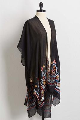 sheer embellished duster cardigan