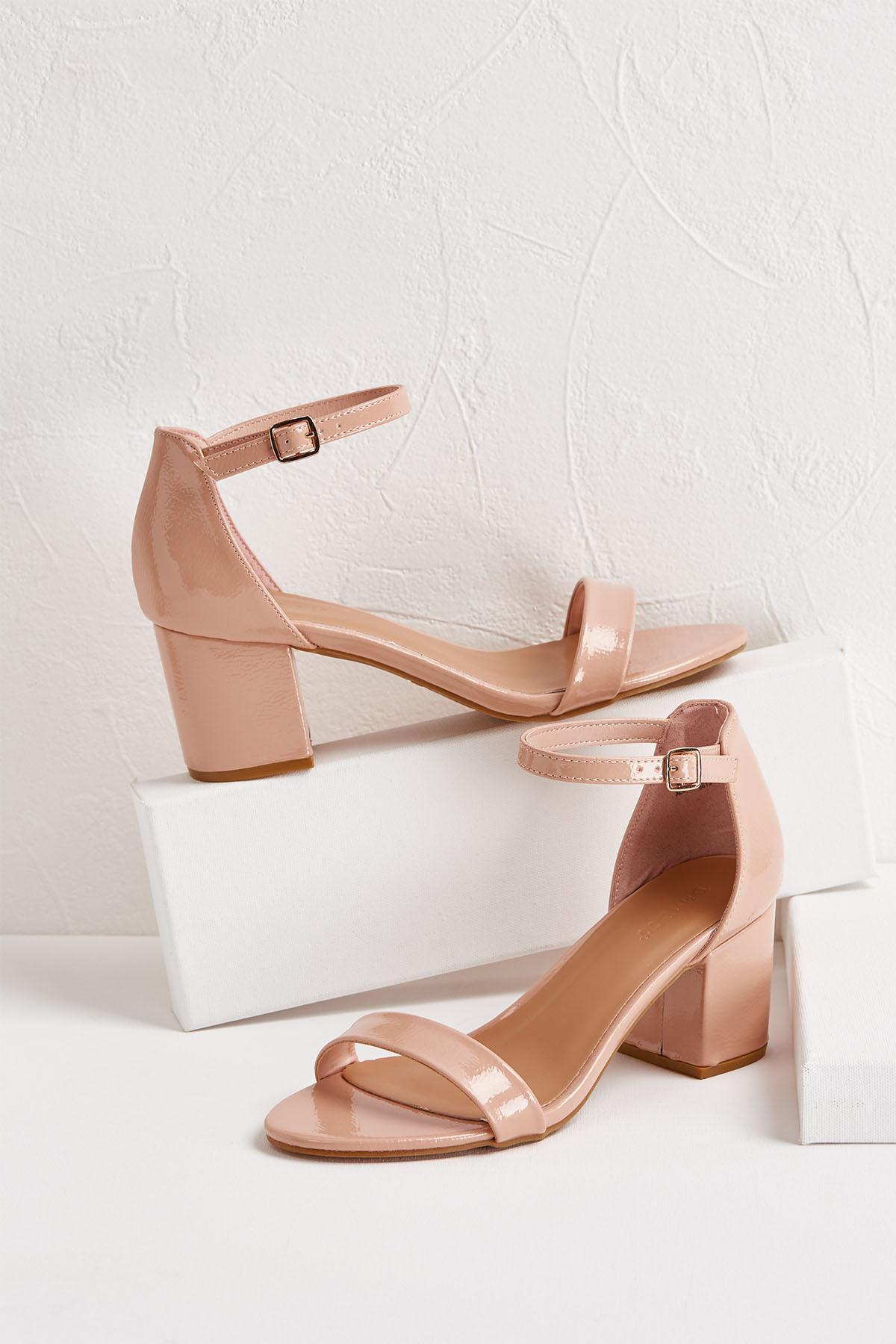 Patent Low Block Heels
