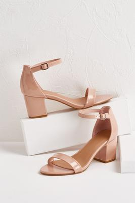 patent low block heels