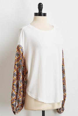 mixed media peasant top