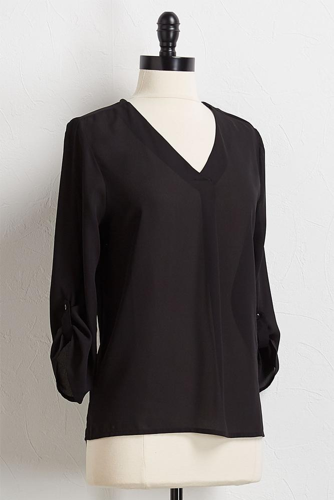 Solid V- Neck High- Low Top