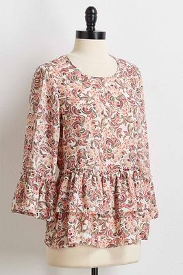 ruffled swirl floral top