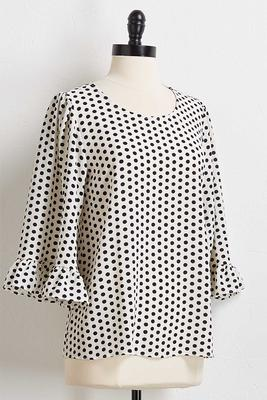 polka dot ruffled sleeve top