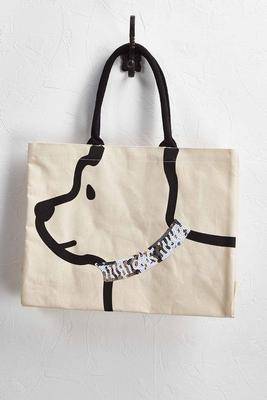 sequin dog canvas tote
