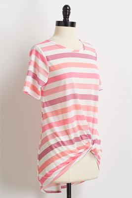 pink knotted stripe tee