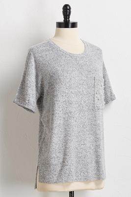 pearl embellished front pocket tee