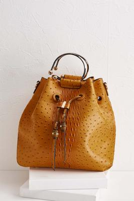 gold ostrich buckle strap bag