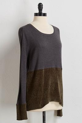 jersey chenille mixed sweater