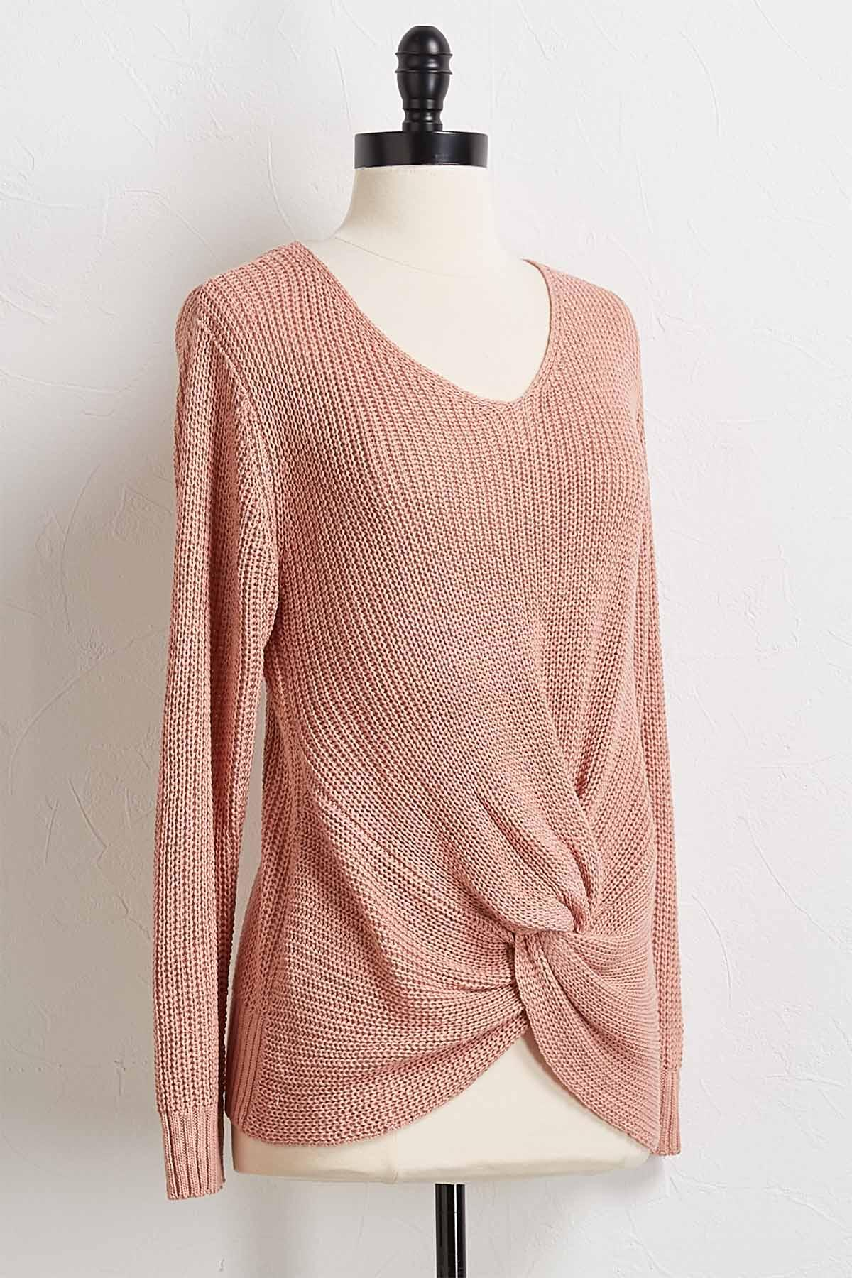 Wine Knotted Sweater Tunic