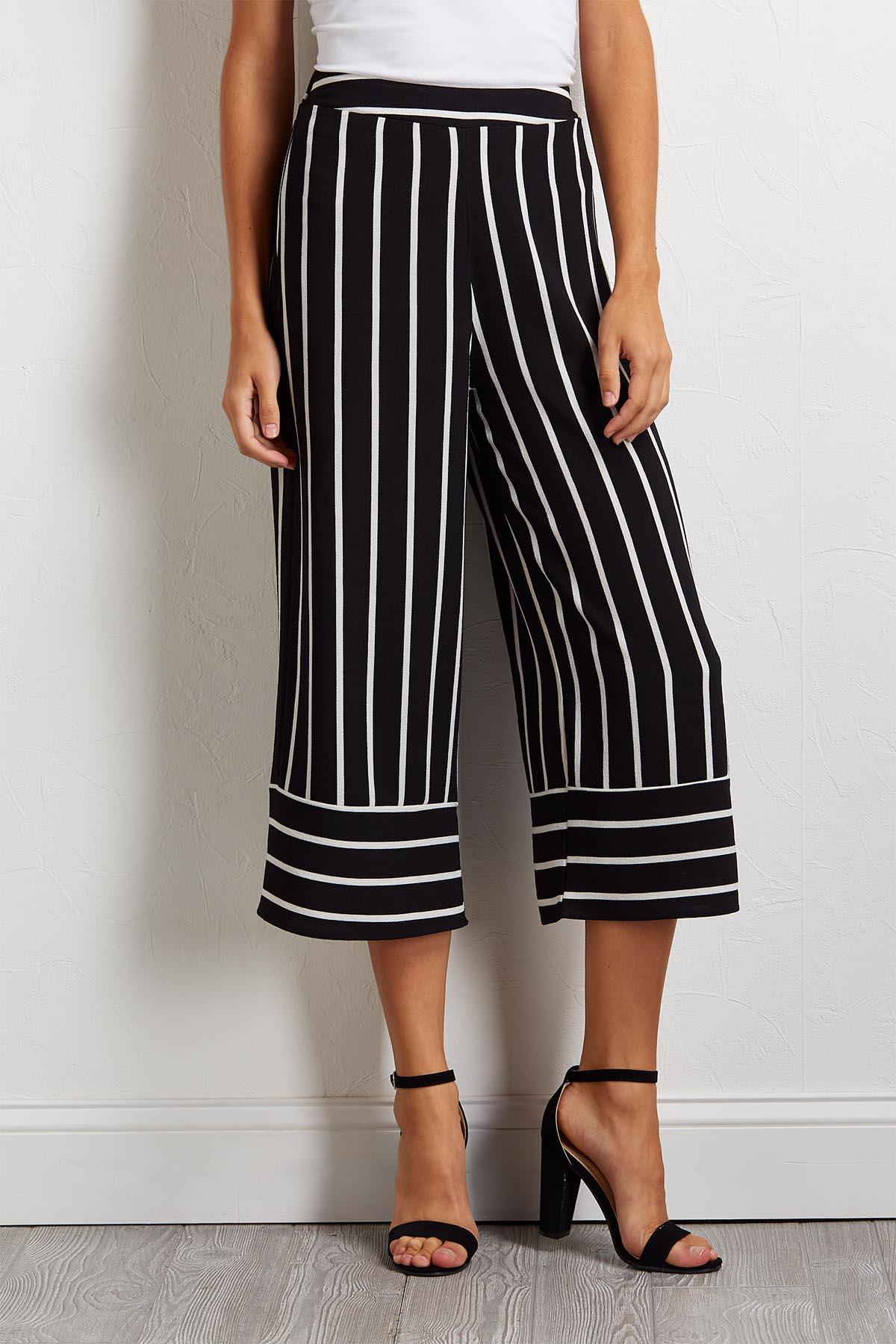Cropped Black And White Pants