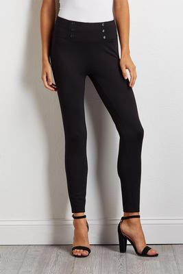 pull-on button embellished leggings