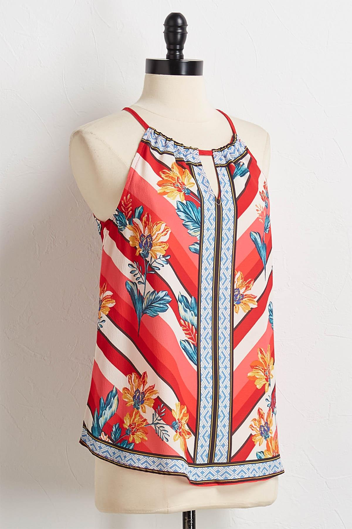Geo Floral Crepe Woven Top