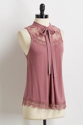blush lace yoke top