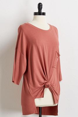 pocket front knot tunic