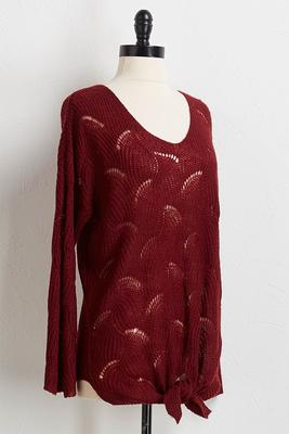 pointelle knotted front sweater