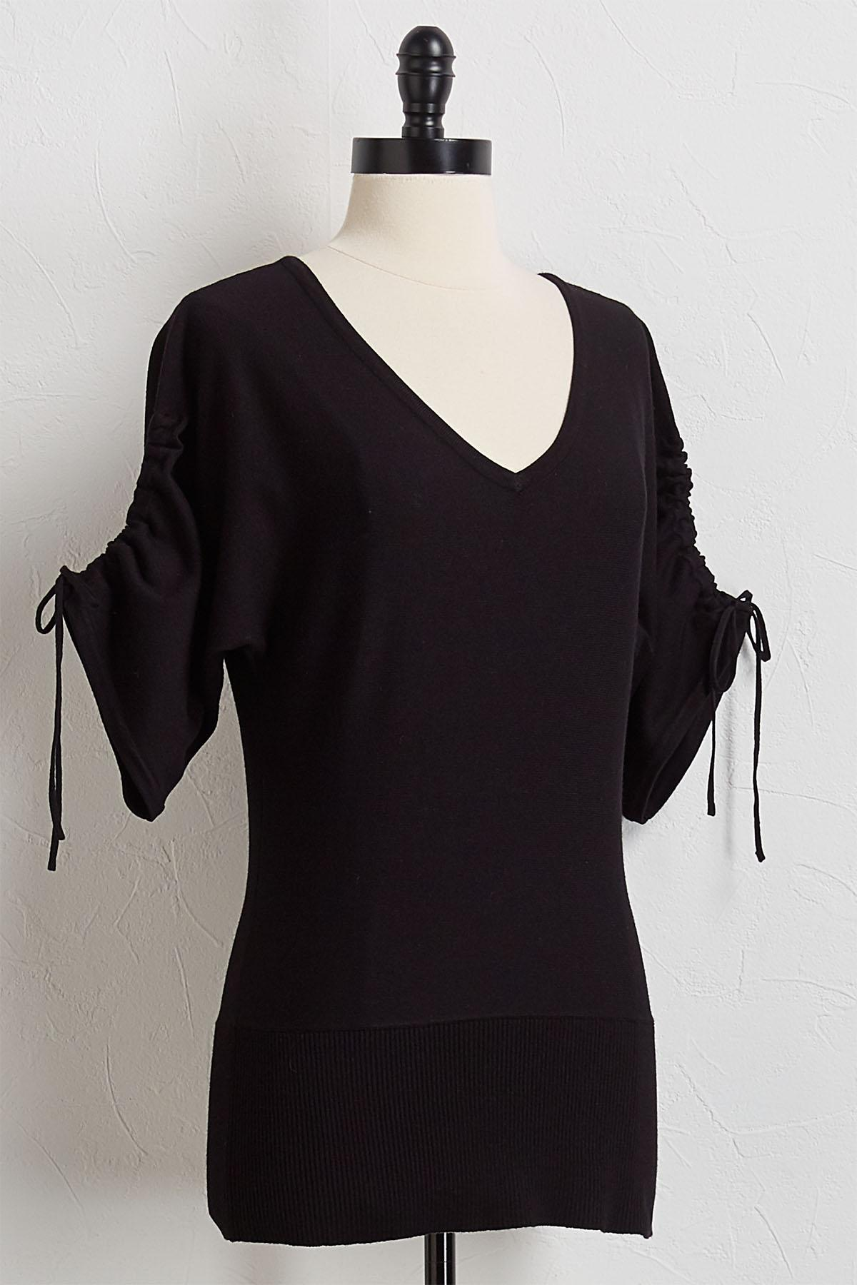 Cinched Sleeve Knit Tunic