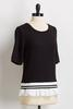 Black And White Ruffled Hem Tee