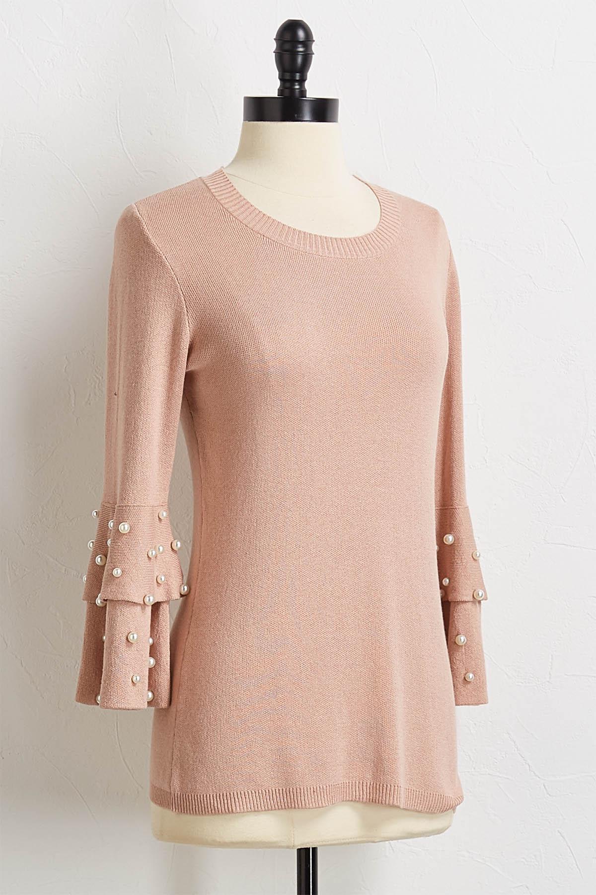 Pearl Ruffle Sleeve Sweater