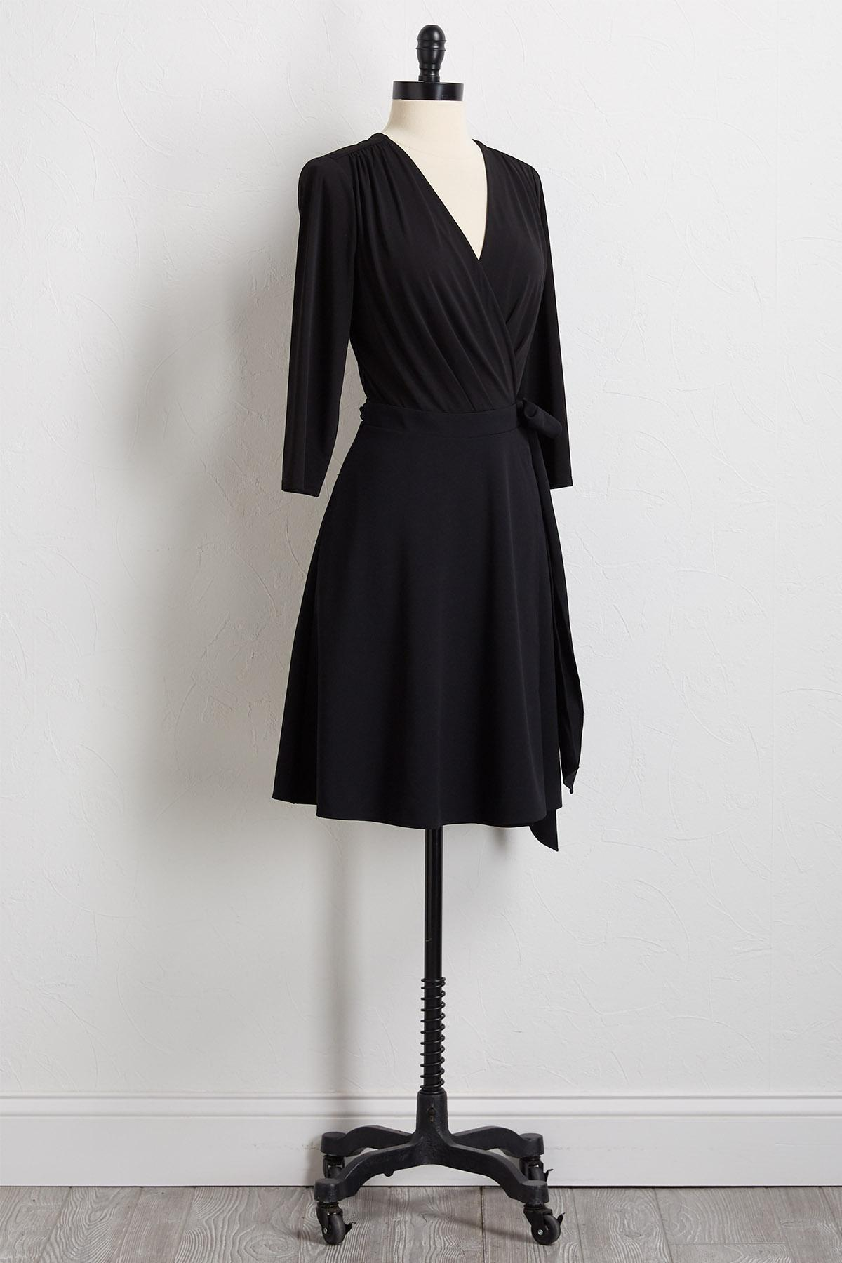 Solid Black Wrap Dress