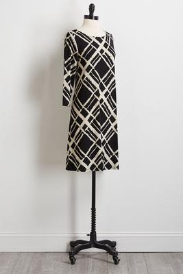 modern graphic shift dress