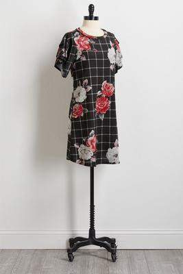 floral check hacci shift dress