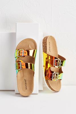 hologram buckle strap sandals