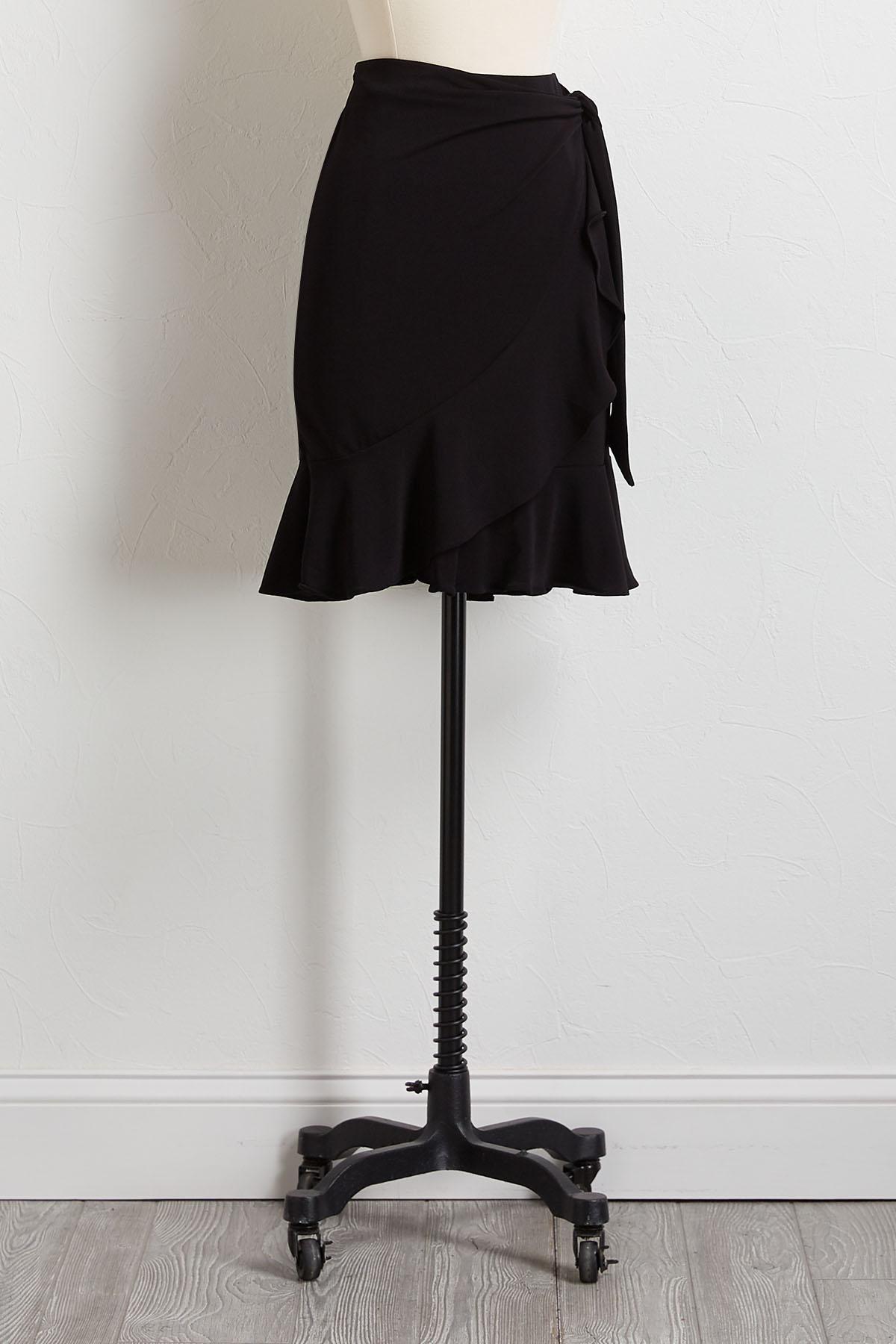 Black Tie Ruffled Midi Skirt