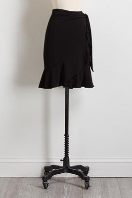 black tie ruffled midi skirt