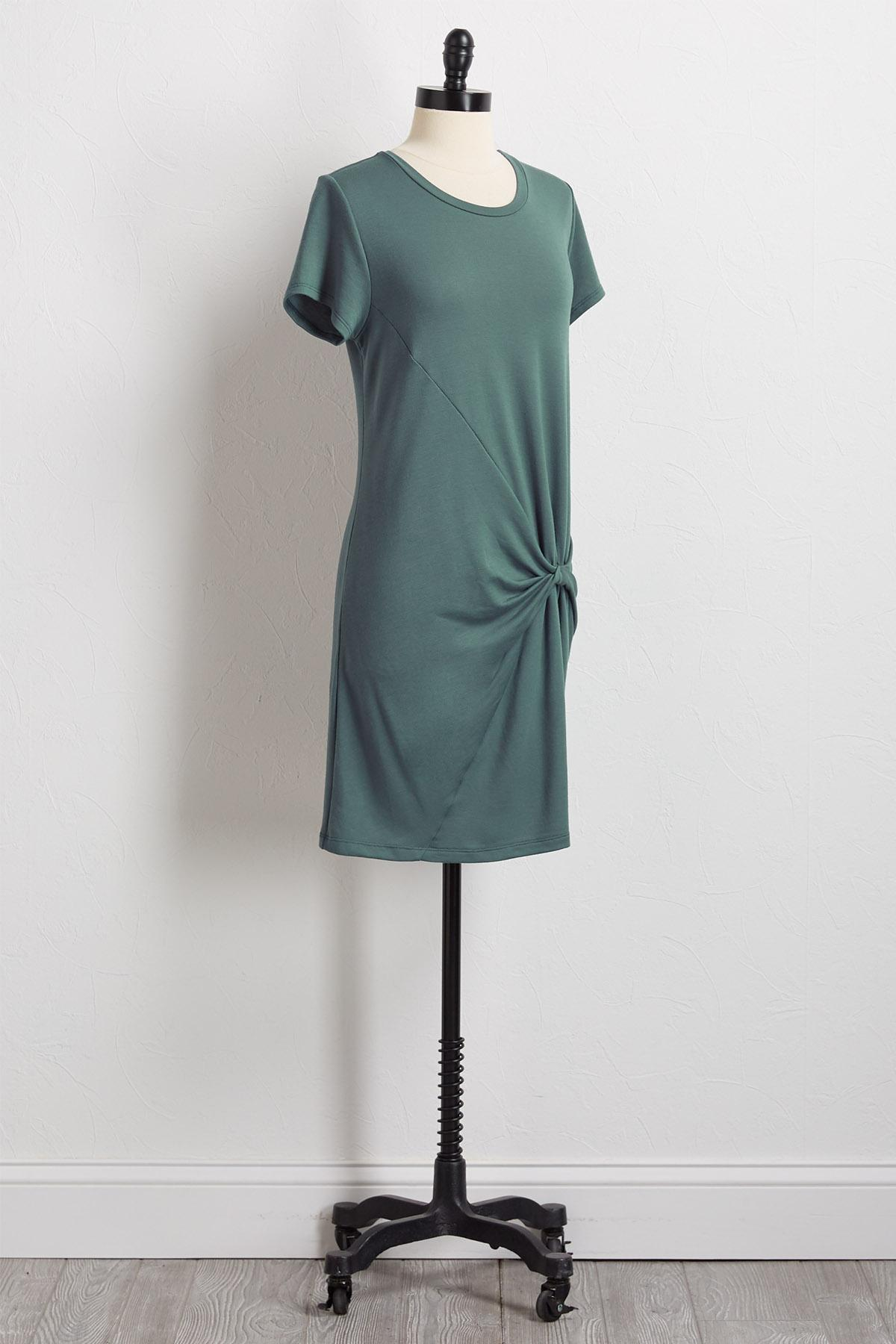 Knotted Front Tee Shirt Dress