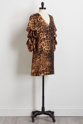 leopard ruffled sleeve shift dress