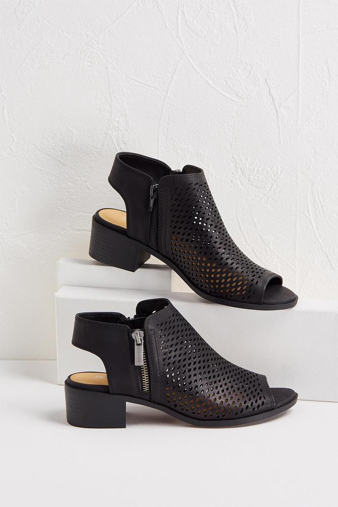 Perforated Low Block Heel Shooties