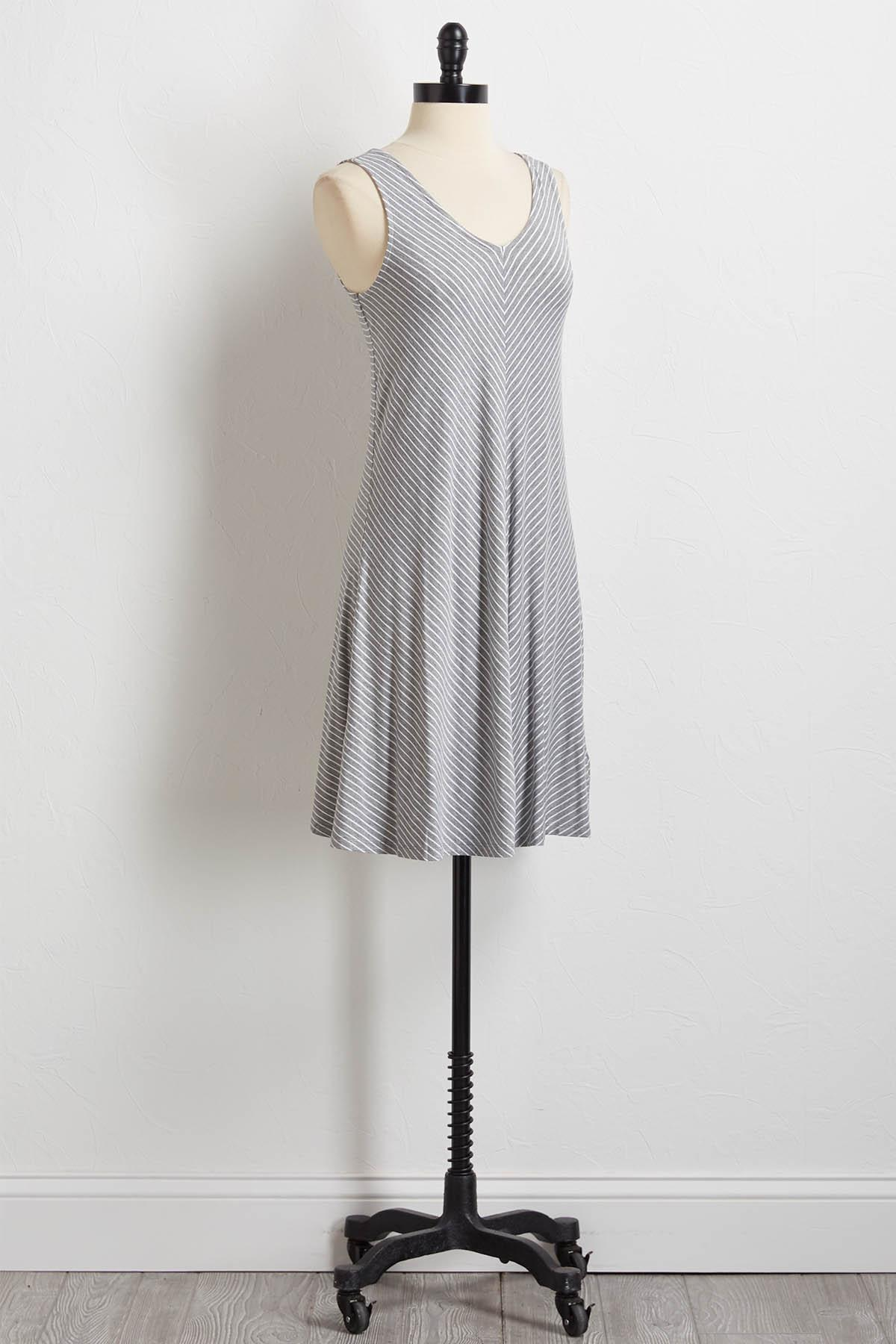 Stripe Cross Back Shift Dress