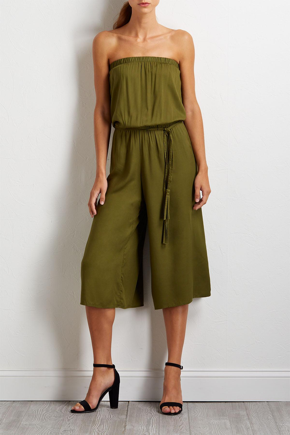 Olive Tie Waist Jumpsuit