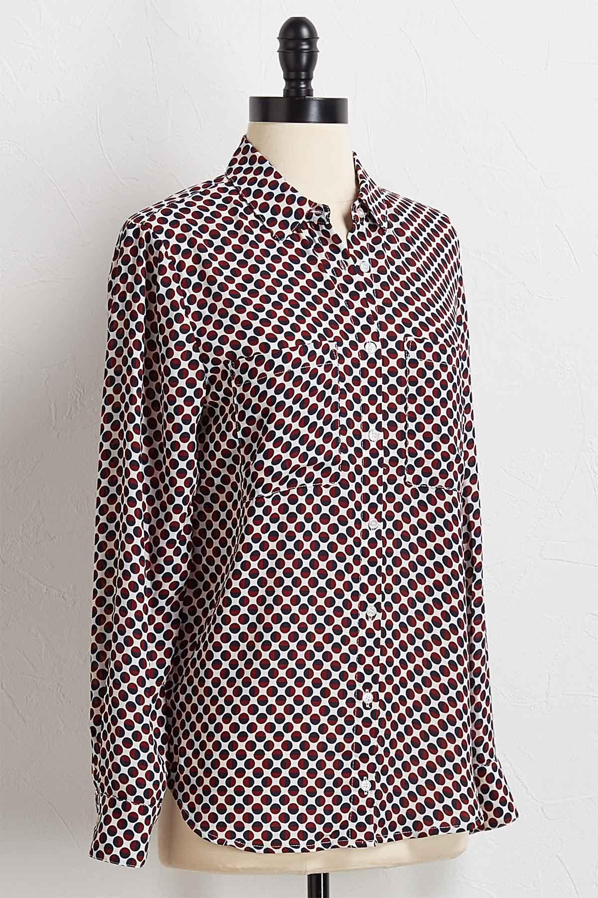 Dotted Button Down Top