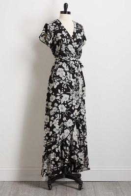 black and white tie waist maxi dress