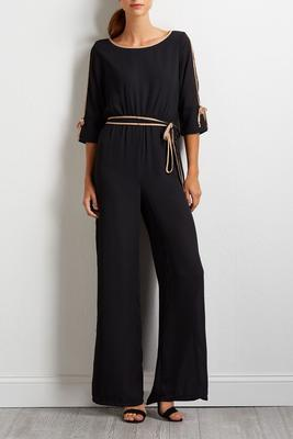 two-toned tie waist jumpsuit