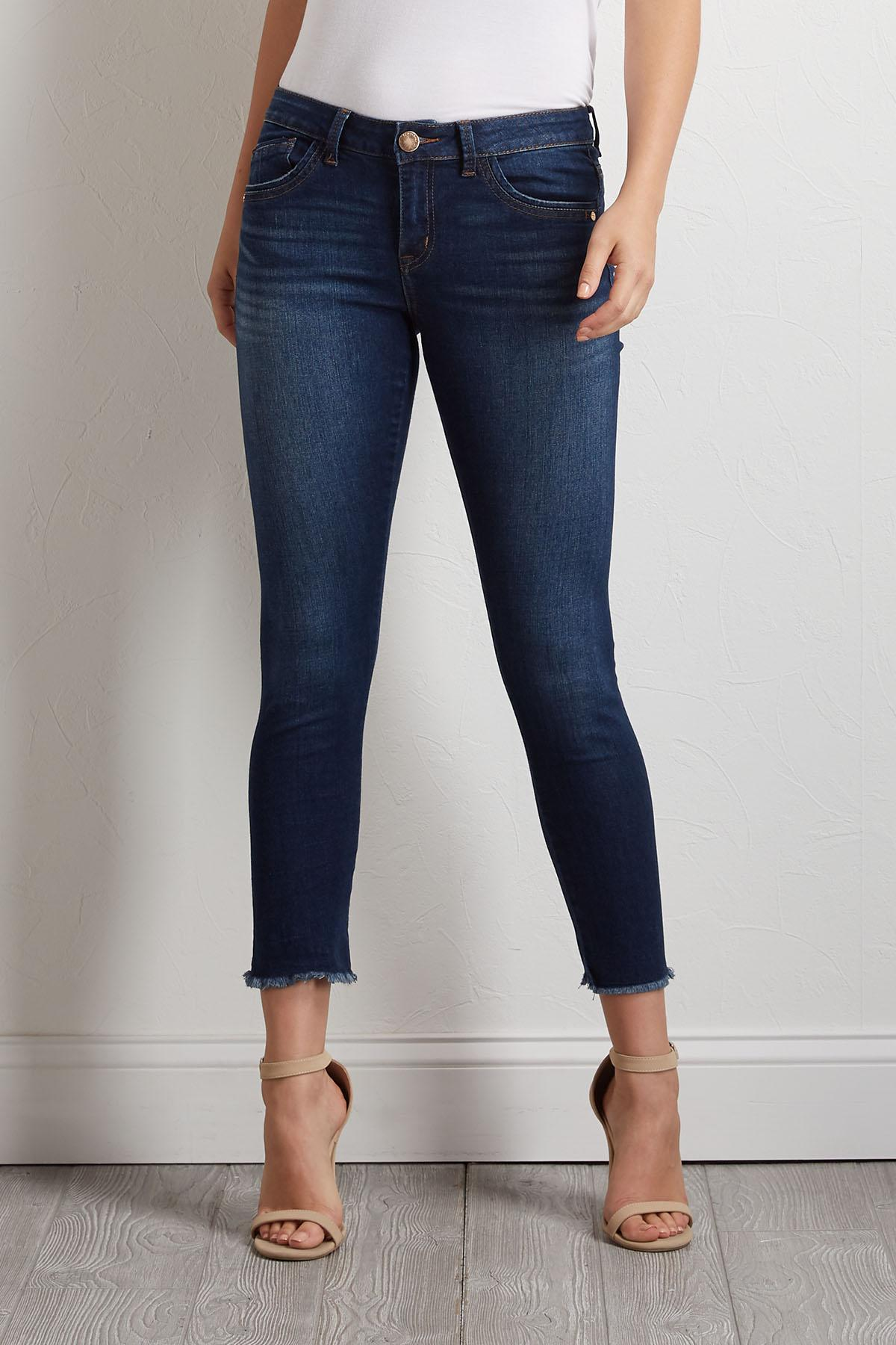 Seamless Frayed Skimmer Jeans