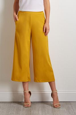 cropped golden palazzo pants