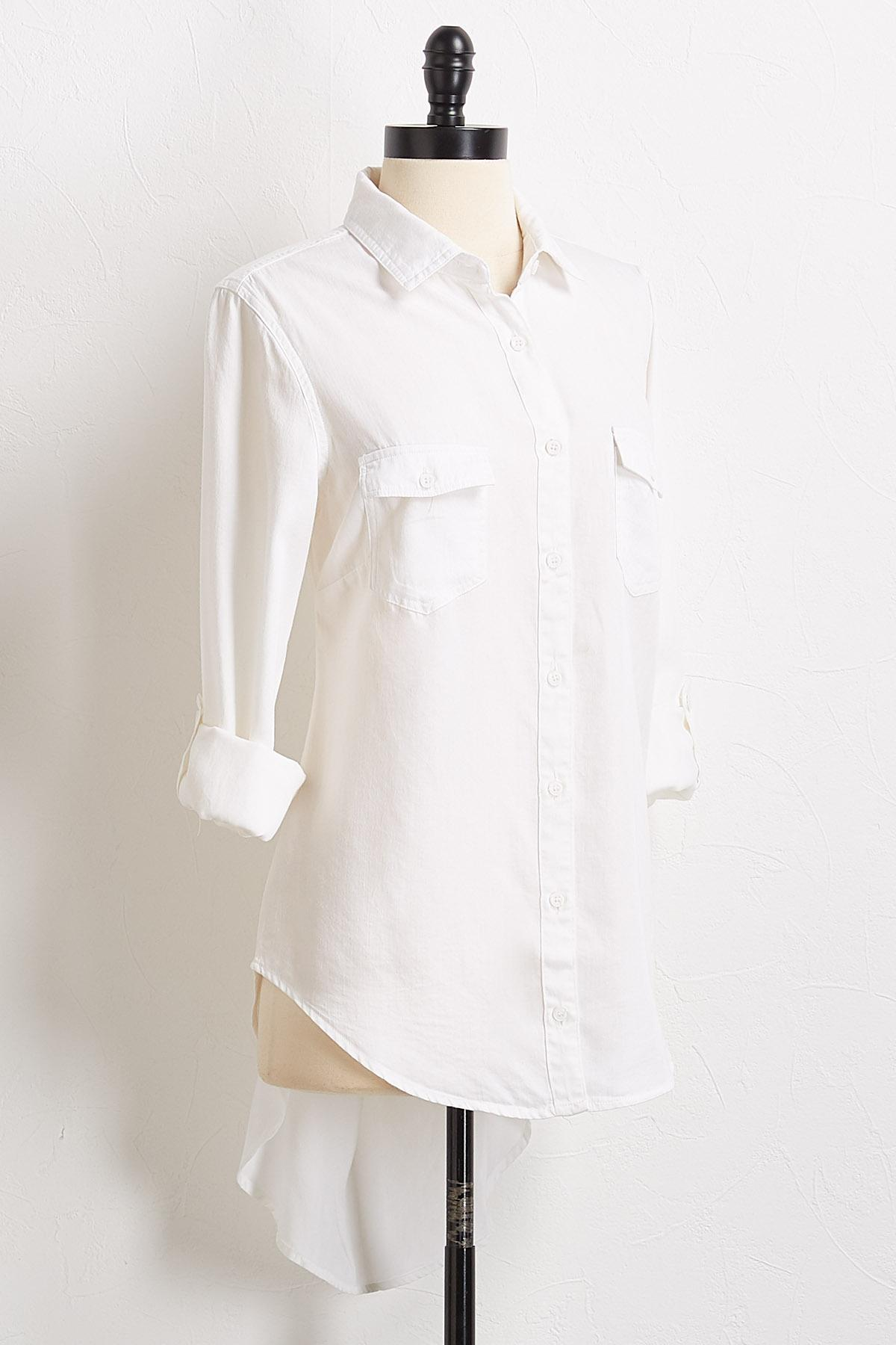 Button Down High- Low Shirt