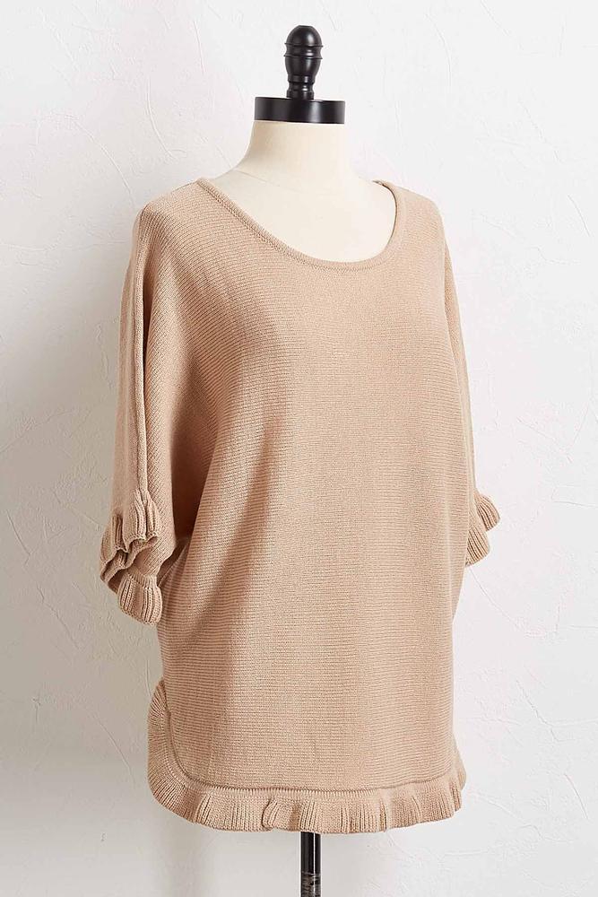 Ruffled Trim Tunic Sweater