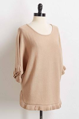 ruffled trim tunic sweater