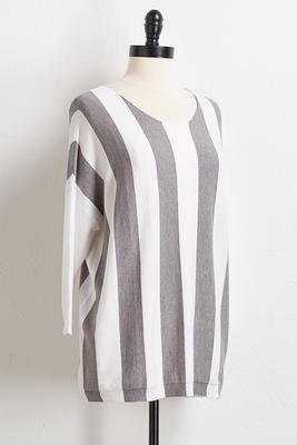 gray stripe pullover sweater