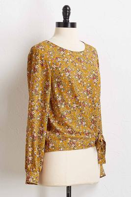 floral knotted front top