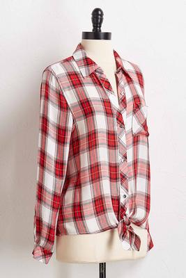 plaid tie front shirt
