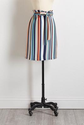 stripe tie waist midi skirt