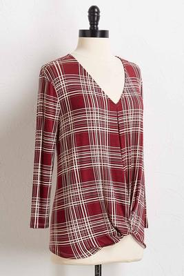knotted windowpane plaid top