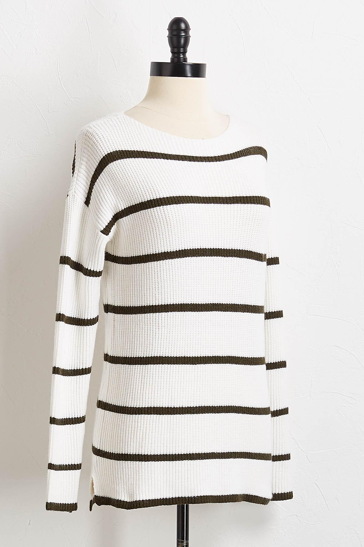 Contrast Stripe Pullover Sweater