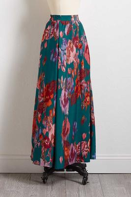 silky brushed floral maxi skirt